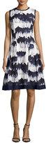 Carmen Marc Valvo Sleeveless Printed Fit & Flare Dress