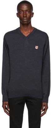 MAISON KITSUNÉ Navy Wool Fox Head V-Neck Sweater