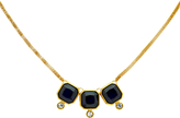 Monet Glass Crystal Triple Necklace, Gold/Indigo