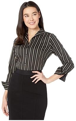 Foxcroft Petite Non Iron Gracey Stretch Stripe Blouse (Biscotti) Women's Clothing