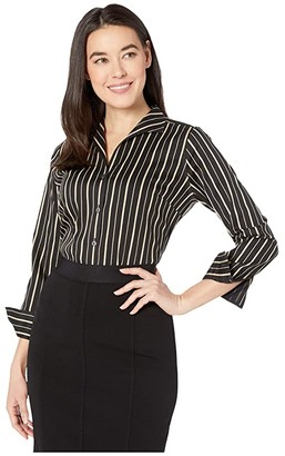 Foxcroft Petite Non Iron Gracey Stretch Stripe Blouse