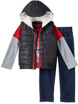 Boys 4-7 Only Kids Apparel Sherpa-Lined Hooded Vest, Patriotic Tee & Jeans Set