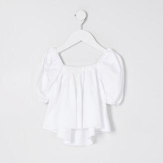 River Island Mini Girls White Puff Sleeve Top