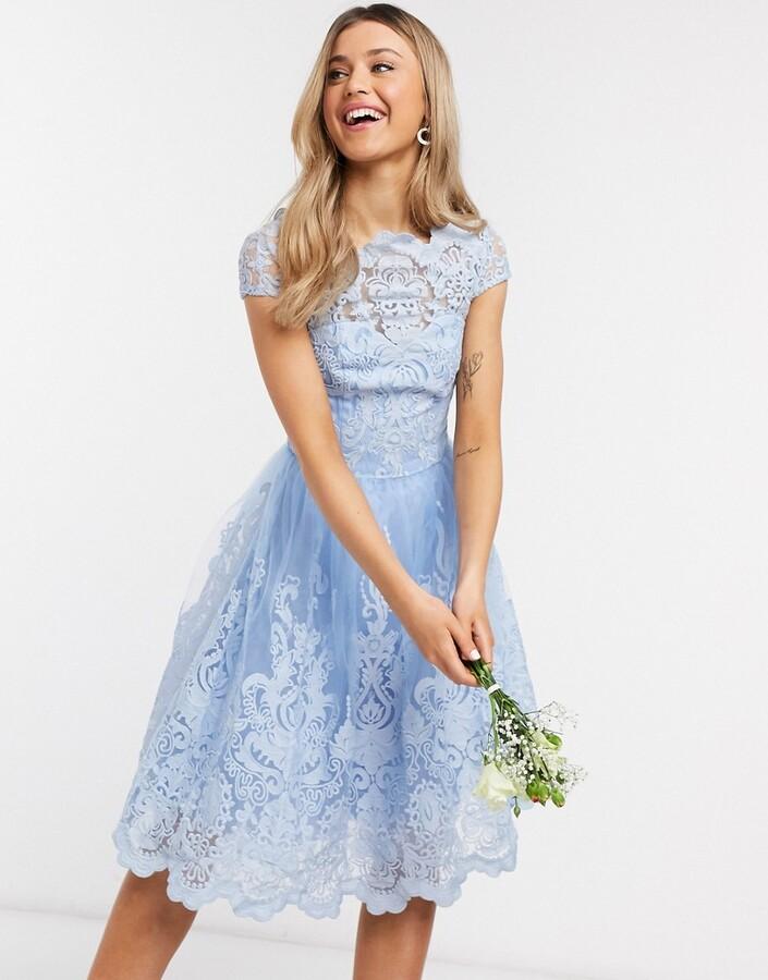 Chi Chi London Chi Chi Bridesmaid Rhiannon lace dress in blue