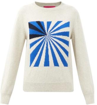 The Elder Statesman Odd Space Race Cashmere Sweater - White Multi