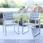 Walker Edison Modern Outdoor Dining Chairs in Grey (Set of 2)