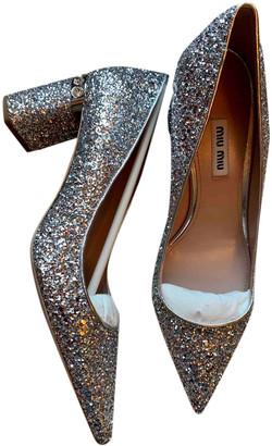 Miu Miu Silver Glitter Heels