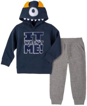 Kids Headquarters Little Boys It Wasn't Me Monster Fleece Hood with Fleece Pant Set, 2 Piece