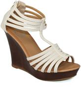 Beige Ankle-Strap Wedge Sandal