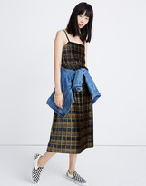 Madewell Pleated Velvet Cami Top in Plaid