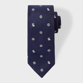 Paul Smith Men's Navy Silk Embroidered Rabbit And Floral Tie