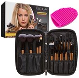 iLuminate 22pc Makeup Brush Set in Premium Gift Box, Professional Makeup Brushes with Travel Bag & Cosmetic Case, Includes Brush Cleaner Egg, Usage Guide for Pros and Beginners, Rose Gold Brushes