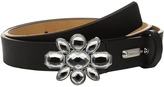 MICHAEL Michael Kors 25mm Saffiano Belt on Jeweled Plaque Buckle