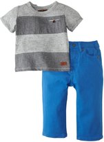 7 For All Mankind Standard W/Striped Tee (Baby) - Bright Blue-0-3 Months