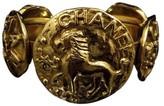 Chanel Gold-Tone Metal Lion Motif Thick Bangle Bracelet