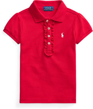 Ralph Lauren Ruffled Cotton Mesh Polo