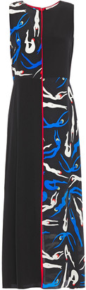 Diane von Furstenberg Paneled Printed Silk-crepe Midi Dress