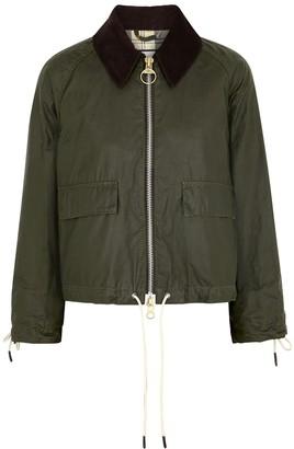 Barbour By Alexachung Margot dark olive waxed cotton jacket