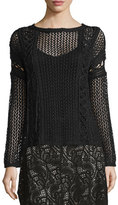 Haute Hippie The Slick Crochet Pullover Sweater, Black