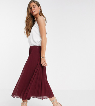Asos DESIGN Tall pleated midi skirt in burgundy