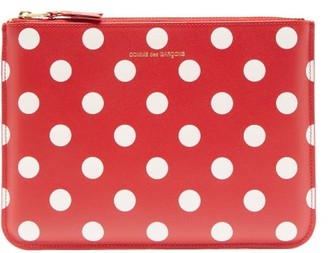 Comme des Garcons Polka-dot Leather Pouch - Womens - Red Multi