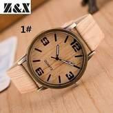 Unknown Women's Watch, Women's Fashion Wood Grain Four Digital Quartz Analog Denim Cloth Band Wrist Watch(Assorted Colors) ( Color : )