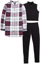 Very Check Shirt, Crop Top And Legging Set