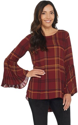 Susan Graver Printed Woven Top with Pleated Sleeves
