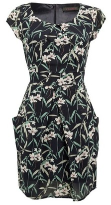 Dorothy Perkins Womens *Tenki Navy Blue Floral Print Tulip Dress, Blue