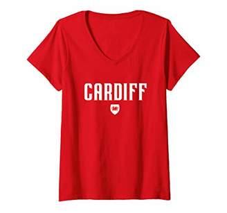 Dragon Optical Womens Cardiff Welsh Shirt - Cymru Flag of Wales V-Neck T-Shirt