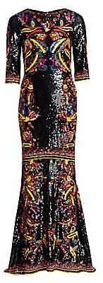Alice + Olivia Women's Jae Sequin Three Quarter-Sleeve Gown