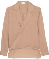 L'Agence Rita Wrap-effect Washed Silk-georgette Blouse - Mushroom
