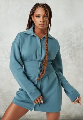 Missguided Blue Brushed Back Corset Waist Fleece Shirt Dress
