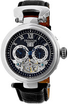Heritor Automatic Men's Watches Silver/Black - Stainless Steel & Black Ganzi Semi-Skeleton Leather-Strap Watch