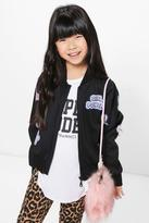 Boohoo Girls Badge Girl Power Bomber Jacket