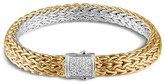 John Hardy Classic Chain Sterling Silver and 18K Bonded Gold Medium Reversible Bracelet with Pavé Diamonds