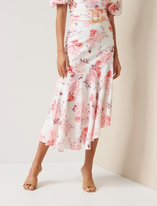 Forever New Elena Linen-Blend Belted Asymmetric Skirt - Peach Blossom Floral - 6