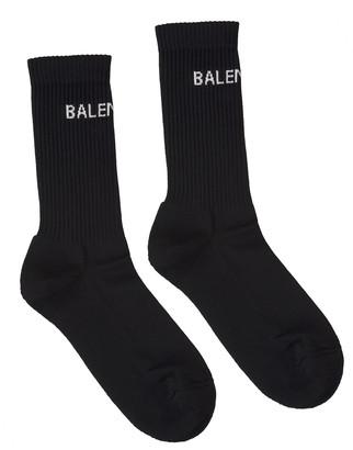 Balenciaga Black Man Socks With White Logo
