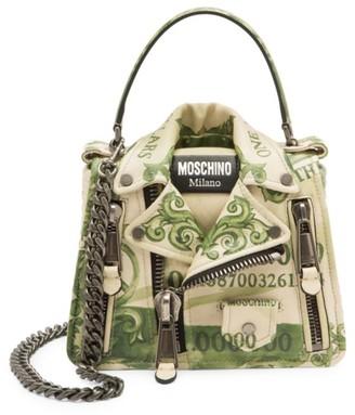 Moschino Cash Biker Jacket Leather Crossbody Bag