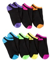 Xhilaration Girls 7-pk No Show Socks - Black