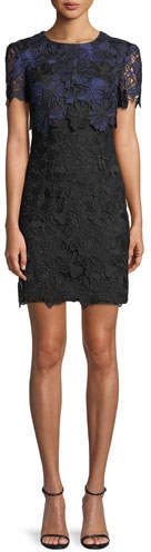 Trina Turk Caterina Bluebell Lace Popover Mini Dress