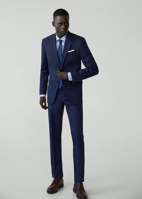 MANGO MAN - Regular fit microstructure suit blazer prussian blue - 36 - Men