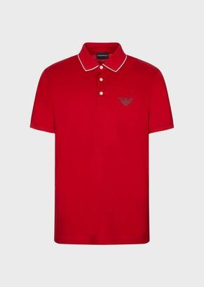 Emporio Armani Pima Polo Shirt With Stencil Logo