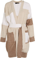 Love Moschino Belted paneled knitted cardigan