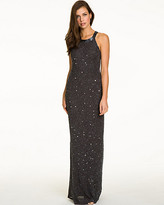 Le Château Allover Beaded Georgette Halter Gown
