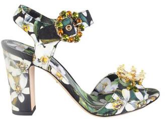 Dolce & Gabbana Green Floral Printed Heel Sandals Size 36.5
