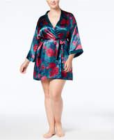 Thalia Sodi Plus Size Printed Satin Kimono Wrap Robe, Created for Macy's