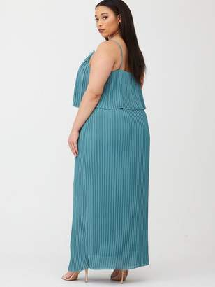 Little Mistress Curve Pleated Maxi Dress with Lace Trims - Blue