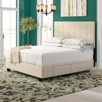 GreyleighTM Firman Upholstered Storage Platform Bed Greyleigh Size: California King, Color: Ivory, Number of Storage Drawers: 2