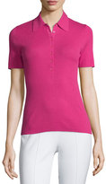 Michael Kors Short-Sleeve Cashmere Polo Shirt, Geranium